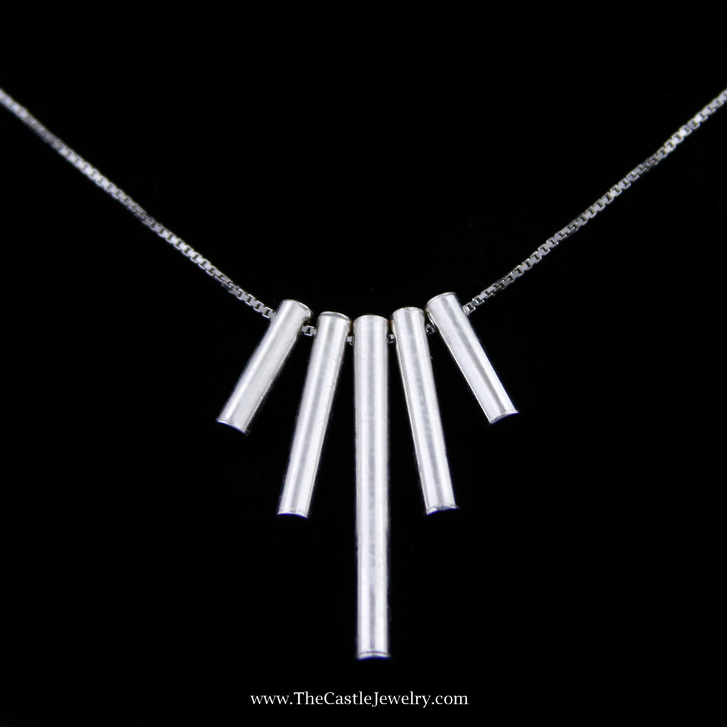 "Graduated Hollow Vertical Cylinders on 18"" Box Link Chain Crafted in 14k White Gold"