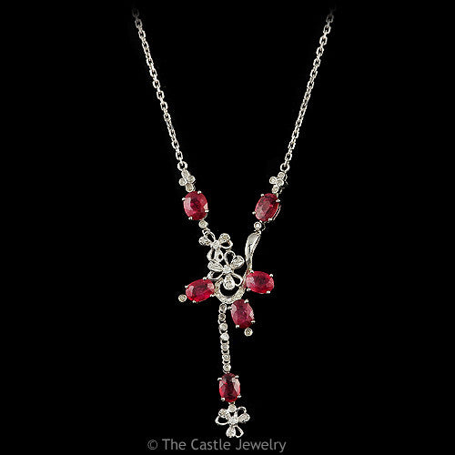 Free Form Drop Design Oval Cut Ruby and .50ctw Diamond Necklace in 14k White Gold - The Castle Jewelry  - 1