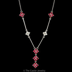 Ruby and Diamond Flower Cluster Dangle Necklace in 14k White Gold - The Castle Jewelry  - 1