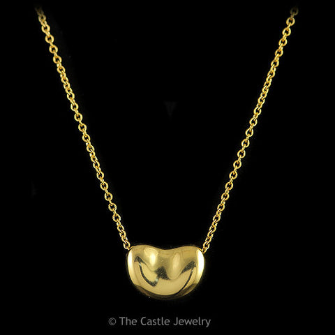 "Authentic Tiffany & Co. Elsa Peretti Bean 16"" Necklace in 18K Solid Yellow Gold Estate Sale"