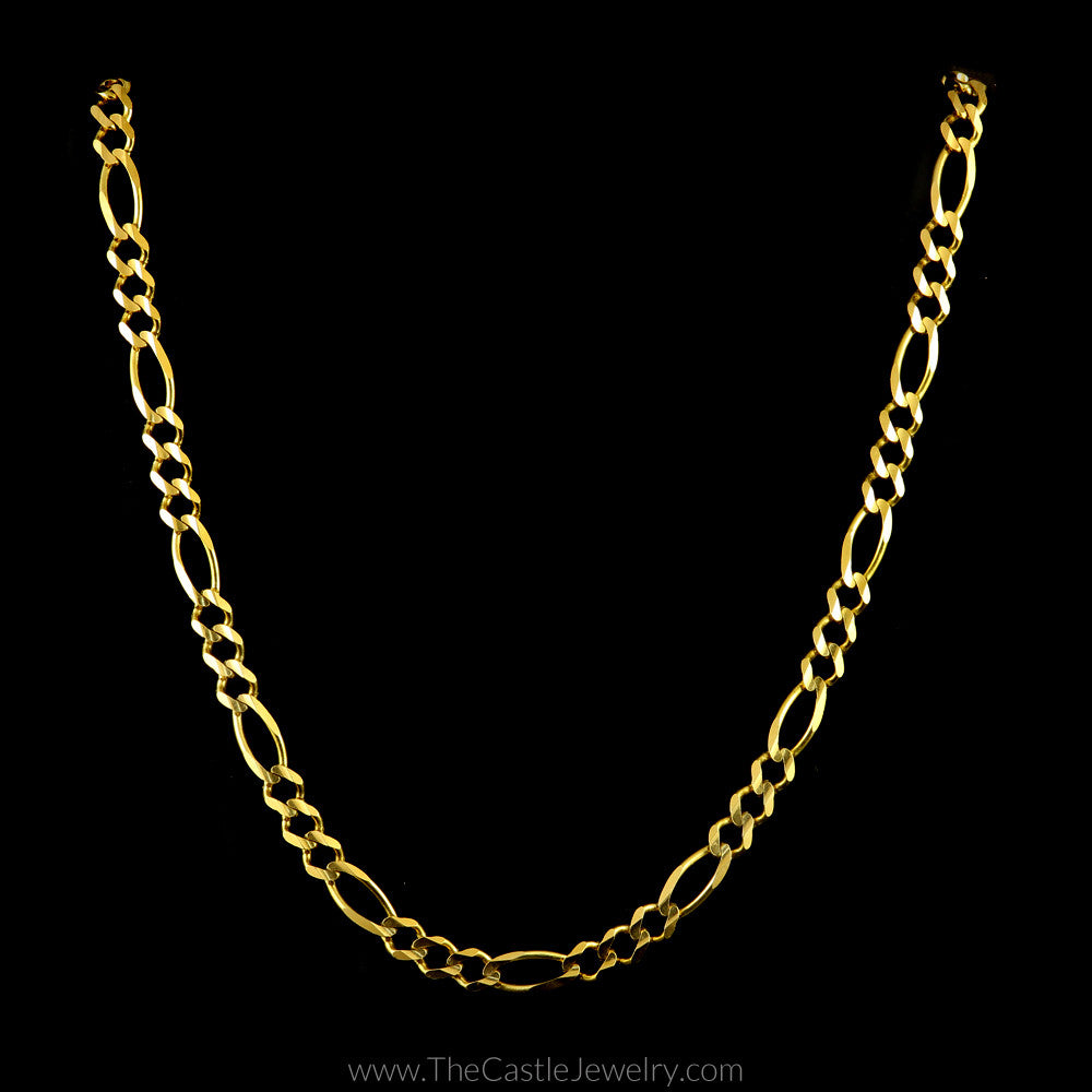 Figaro Chain 20 Inches in 10K Yellow Gold - The Castle Jewelry  - 1
