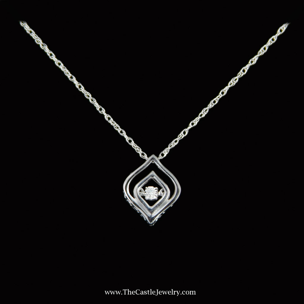 SPECIAL! Marquise Style Diamond Heart Beat Pendent in Sterling Silver - The Castle Jewelry