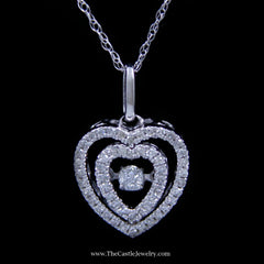 Double Heart .18cttw Diamond Heart Beat Necklace in 10K White Gold - The Castle Jewelry  - 1