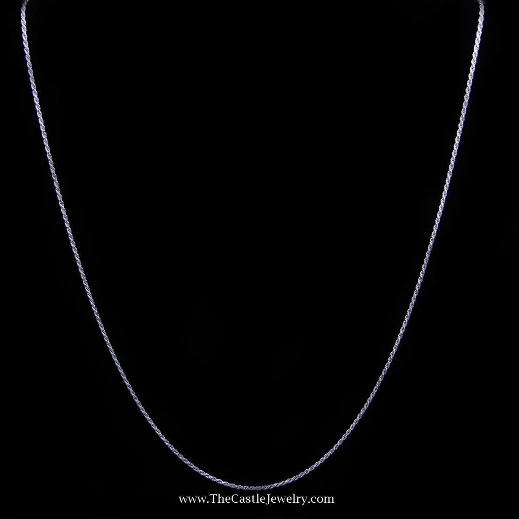Rope Chain Necklace in 14K White Gold 1.2mm 18 Inches 2.9 Grams - The Castle Jewelry  - 1