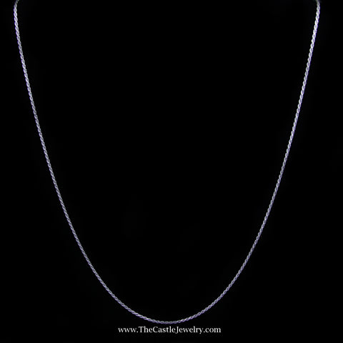 Rope Chain Necklace in 14K White Gold 1.2mm 18 Inches 2.9 Grams