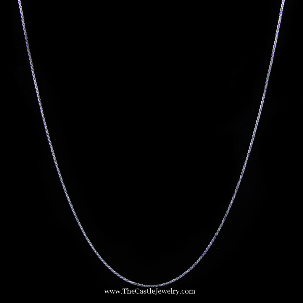 Rope Chain Necklace in 14K White Gold 1.2mm 20 Inches 3.2 Grams - The Castle Jewelry  - 1