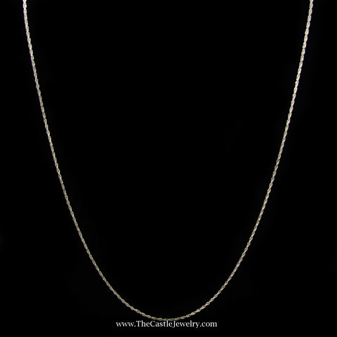 Rope Chain Necklace in 14K Yellow Gold 1.2mm 20.5 Inches 3.7 Grams
