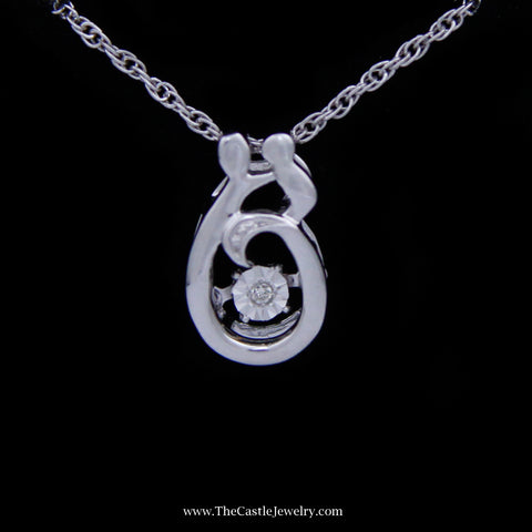 Mother and Child Heart Beat Diamond Necklace in Sterling Silver