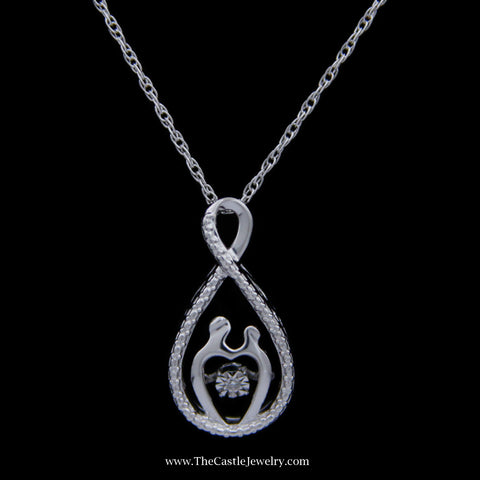 SPECIAL! Sterling Silver Mother Child Heart Beat Necklace w/ Milgrain Accent .01ct RBC