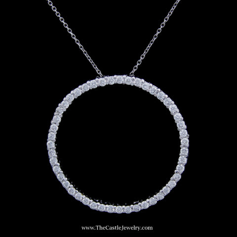 Authentic Roberto Coin 1cttw Circle of Life Necklace 32mm on 20 Inch Chain 18K White Gold