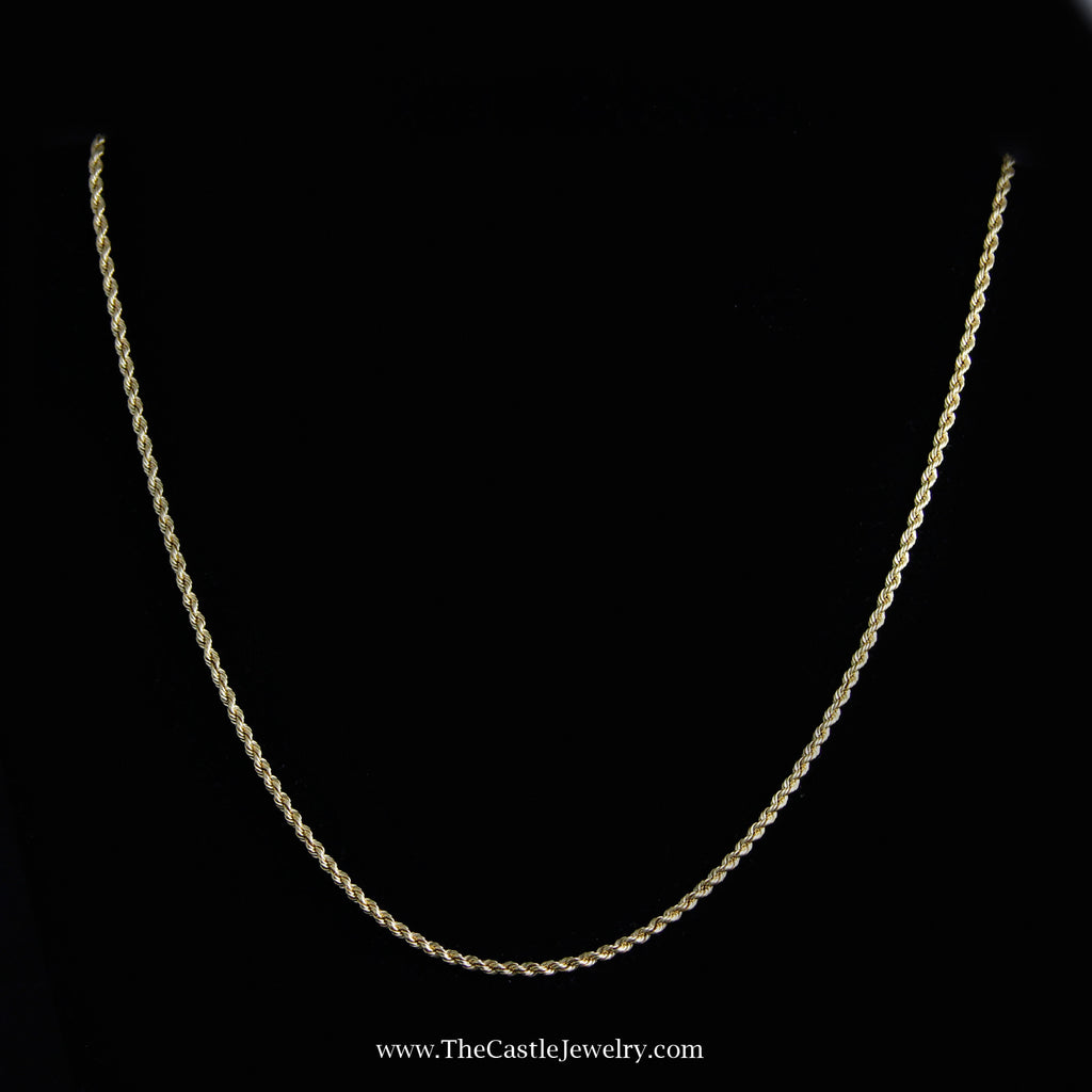 Rope Chain 19 Inches 2mm 8.8 Grams in 18K Yellow Gold - The Castle Jewelry  - 1