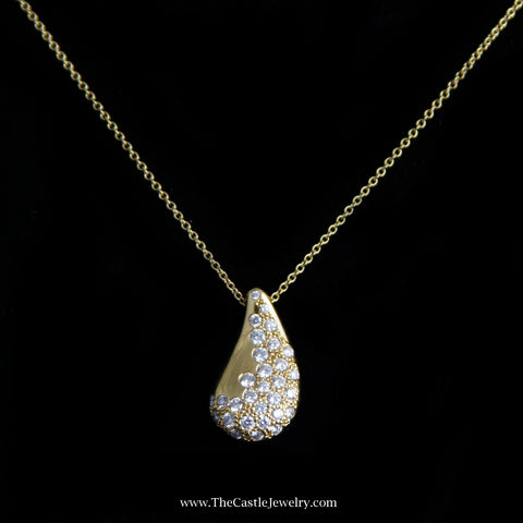 Beautiful Tiffany & Co. Elsa Peretti Tear Drop Diamond Necklace in 18K Yellow Gold