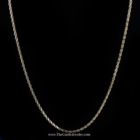 "Diamond Cut 20"" Rope Chain w/ Lobster Clasp in Yellow Gold"
