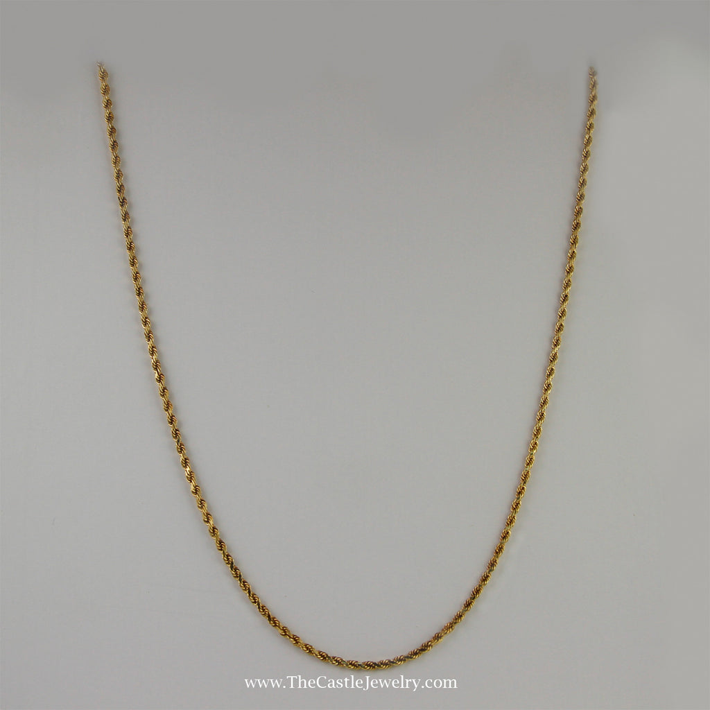 Rope Chain 18 Inches 2mm 8.4 Grams in 14K Yellow Gold - The Castle Jewelry  - 1