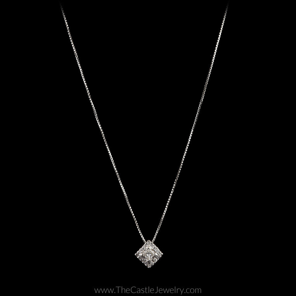 Off Set Square Shaped Diamond Cluster Pendant 16.5 Inch Chain in 18K White Gold - The Castle Jewelry  - 1