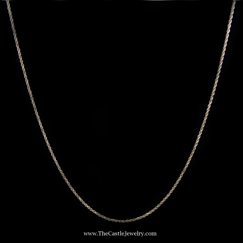 Rope Chain Necklace in 10K Yellow Gold 1.5mm 22 Inches 4.4 Grams - The Castle Jewelry  - 1