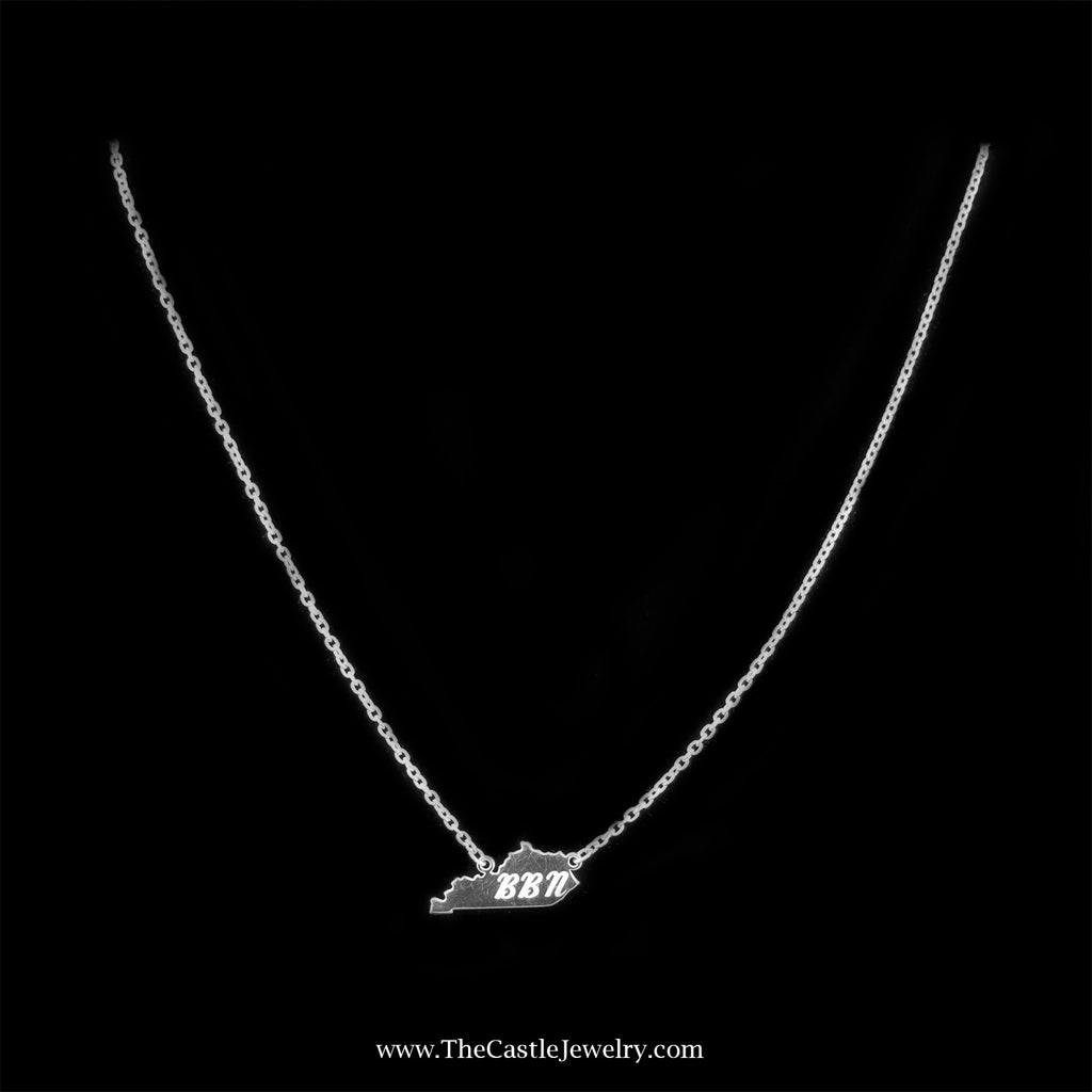 Stylish University of Kentucky Big Blue Nation Necklace In Sterling Silver - The Castle Jewelry  - 1