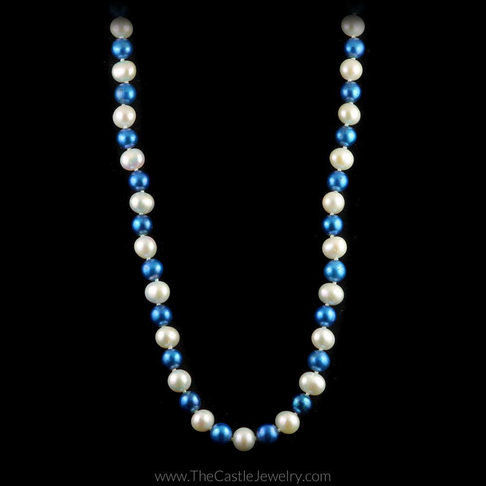 Collegiate University of Kentucky Blue and White Pearl Necklace - The Castle Jewelry  - 1