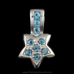 Blue Topaz Cluster Star Shaped Pendant in 10K White Gold - The Castle Jewelry  - 1
