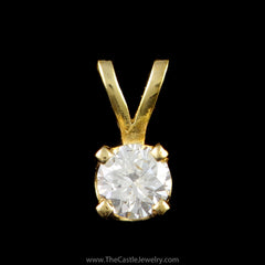 Round Brilliant Cut Diamond .20ct Pendant in 14K Yellow Gold - The Castle Jewelry  - 1