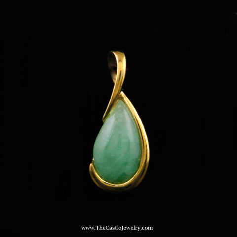 Pear Shaped Half Bezel-ed Jade Pendant in 10K Yellow Gold