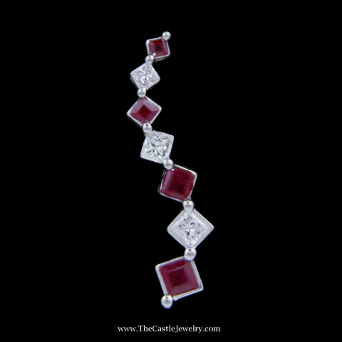 Gorgeous Ruby and Princess Cut Diamond Journey Style Pendant in White Gold