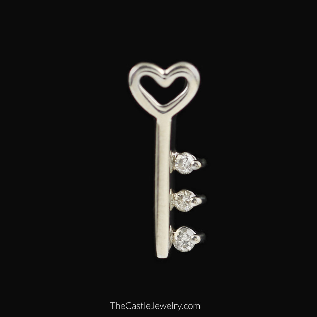 Key Pendant with Heart and Diamond Accents in 10K White Gold - The Castle Jewelry  - 1