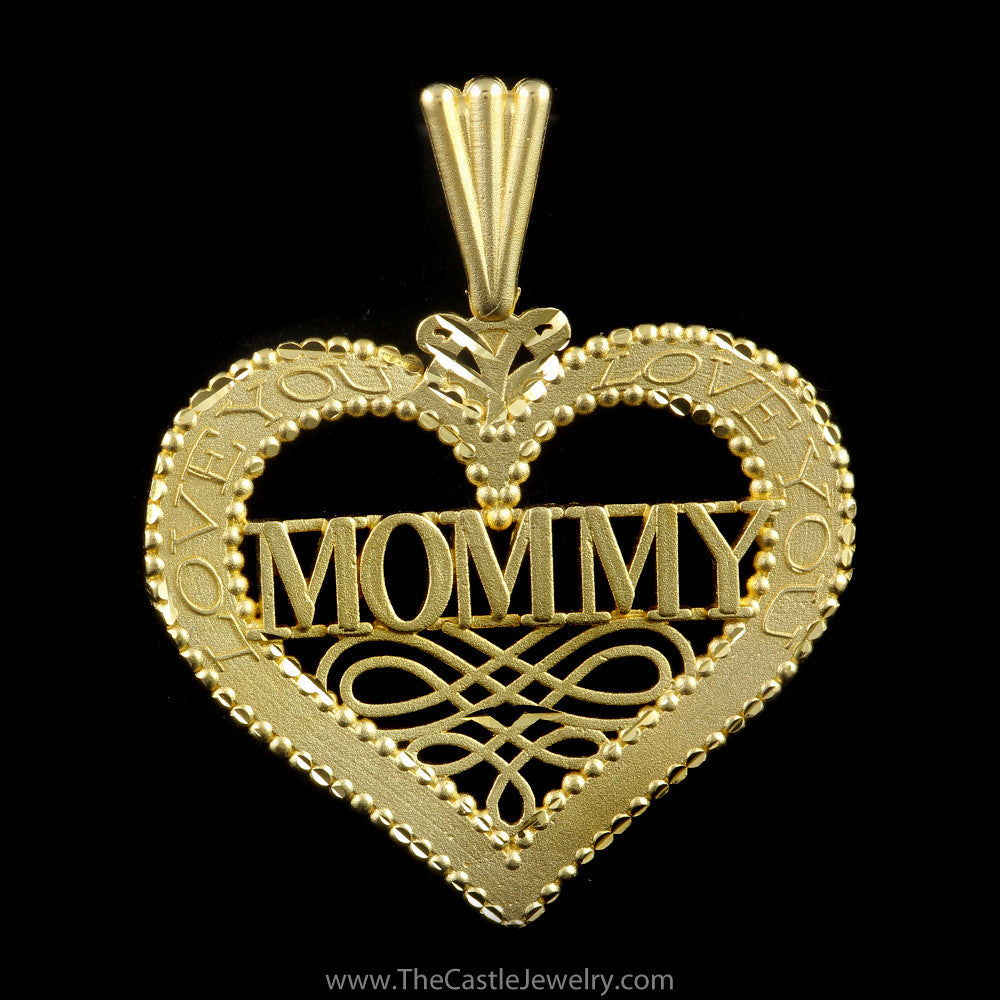 Beautiful Heart Mommy Love You on Sides in 14K Yellow Gold - The Castle Jewelry  - 1