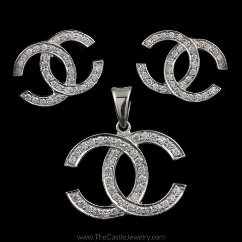 Double C Diamond Pendant and Earring Matching 2.56cttw Set in 14K White Gold