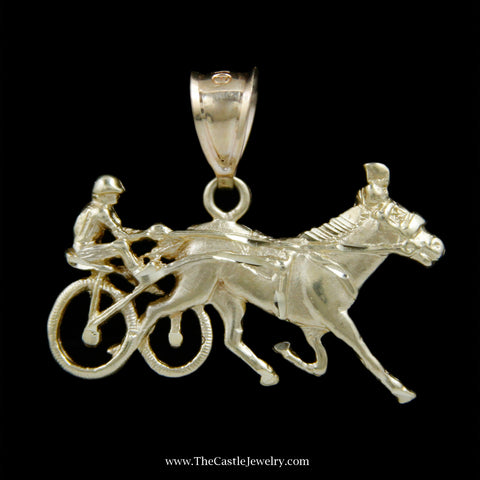 Unique Horse and Cart w/ Driver Solid Gold Pendant in 14k Yellow Gold