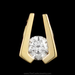 Tension Set Split Design ½ carat Round Diamond Pendant in 14K Yellow Gold - The Castle Jewelry  - 1