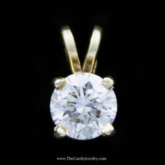 Beautiful .81ct Round Brilliant Cut Solitaire Pendant SI1-H in 14K Yellow Gold - The Castle Jewelry  - 1