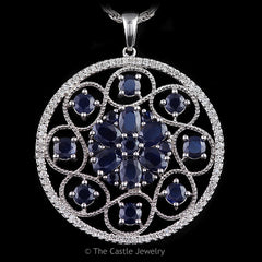 Sapphire and Diamond Large Disc Pendant Open Swirl Design in 14K White Gold - The Castle Jewelry  - 1