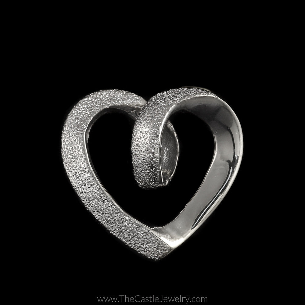 Laser Cut and Polished Loop Heart Pendant in 14K White Gold - The Castle Jewelry  - 1