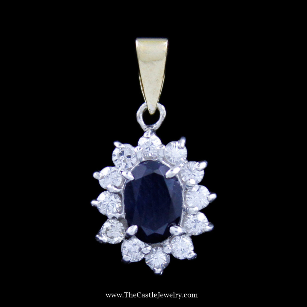 Gorgeous Oval Sapphire Pendant w/ Round Brilliant Cut Diamond Bezel in White & Yellow Gold - The Castle Jewelry  - 1