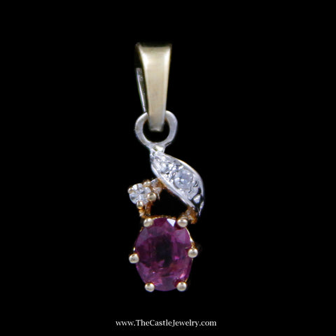 Charming Oval Pink Tourmaline Pendant with .01cttw Round Brilliant Cut Accents in Yellow Gold