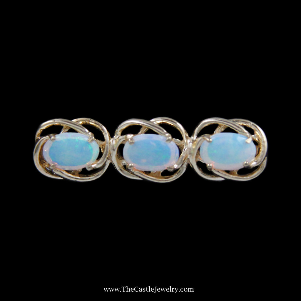 Gorgeous 3 Oval Opal Pin with Looped Design Bezels in Yellow Gold - The Castle Jewelry  - 1