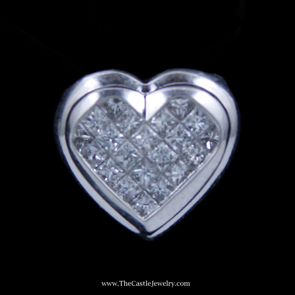 Charming Invisible Set Heart Shaped Diamond Pendant in 14k White Gold - The Castle Jewelry  - 1
