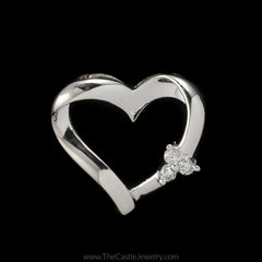 Heart Pendant with Round Diamond Cluster Accents on Side in 14K White Gold - The Castle Jewelry  - 1