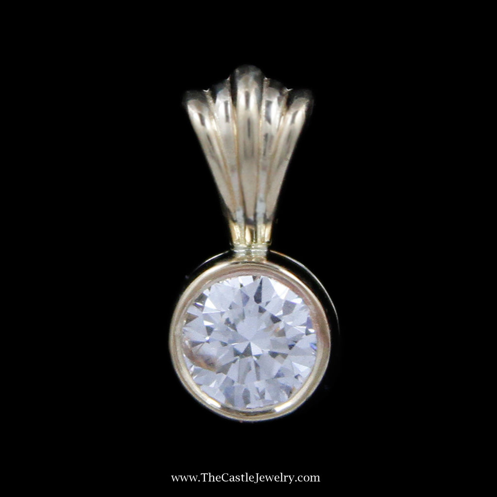 Stunning .40ct Round Brilliant Cut Diamond Solitaire Pendant in Yellow Gold - The Castle Jewelry  - 1
