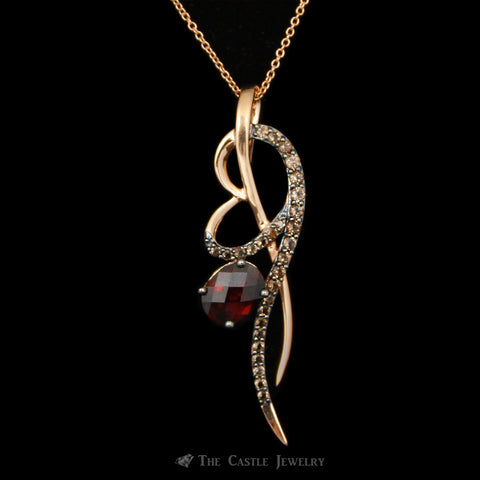 LeVian Strawberry Gold™ Necklace w/ Oval Rasberry Rhodolite™ Garnet Crafted in 14k Rose Gold