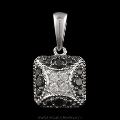 Square Shaped White and Black 1/4cttw Diamond Pendant in 10K White Gold - The Castle Jewelry  - 1