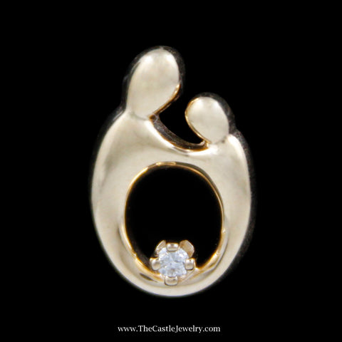 Beautiful Mother and Child Pendant with .02ct Diamond Accent in Yellow Gold