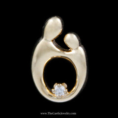 Beautiful Mother and Child Pendant with .02ct Diamond Accent in Yellow Gold - The Castle Jewelry  - 1