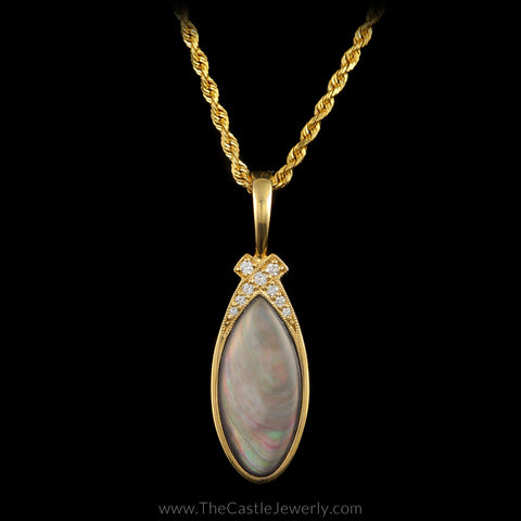 "Kabana Designer Pendant Black Mother of Pearl Inlay ""X"" Design in Diamonds 14K Yellow Gold"