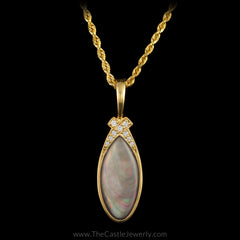 "Kabana Designer Pendant Black Mother of Pearl Inlay ""X"" Design in Diamonds 14K Yellow Gold - The Castle Jewelry  - 1"