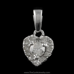 Small 1/4cttw Diamond Heart Pendant in 10K White Gold - The Castle Jewelry  - 1
