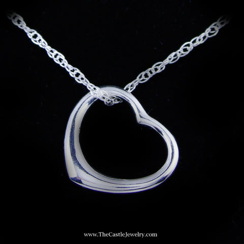SPECIAL! Sterling Silver Polished Floating Heart Necklace
