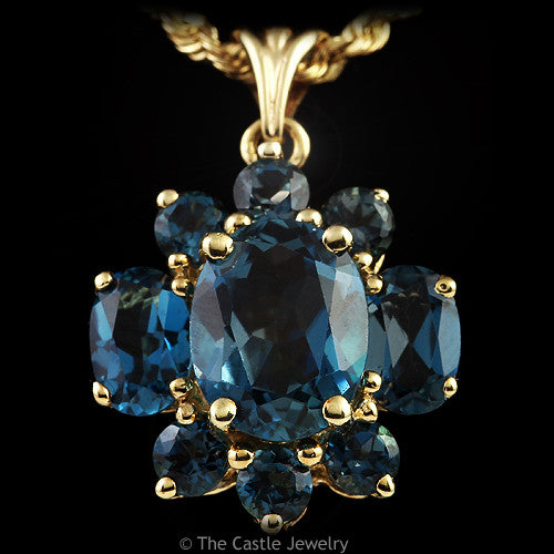 Oval & Round Blue Topaz Cluster Pendant 10K Solid Yellow Gold - The Castle Jewelry  - 1