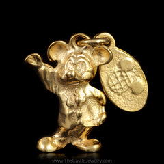Authentic Disney Waving Mickey Mouse Pendant in 14K Yellow Gold - The Castle Jewelry  - 1